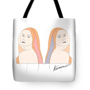 Silent Eve Mirror- Beautiful Woman Portrait Minimalist Drawing Tote Bag