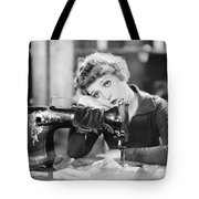 Silent Film Still: Sewing Tote Bag