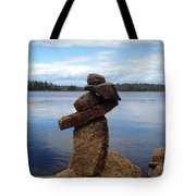 Silent Watch - Inukshuk On Boulder At Long Lake Hiking Trail Tote Bag