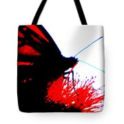 Silhouette Monarch With Red Tote Bag