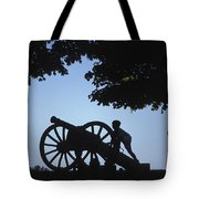 Silhouette Of A Boy And His Father Tote Bag