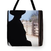 Silhouette Of A Cowboy In A Doorway Tote Bag