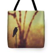 Silhouette Of A Hummingbird Against Golden Background, Mindo, Ecuador Tote Bag