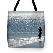 Silhouette Of A Man Fishing Tote Bag