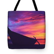 Silhouette Of A Wooden Thai Boat  On The Beach During Beautiful And Dramatic Sunset Tote Bag