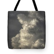 Silhouette Of An Eagle Flying Among Stormy Clouds  Tote Bag