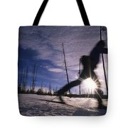 Silhouette Of Of Women Cross County Tote Bag