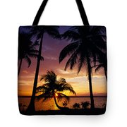 Silhouette Of Palm Tree On The Coast Tote Bag