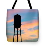 Silhouette Of Small Town Water Tower Tote Bag