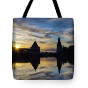 Silhouette Of Stronghold And Sunset. Pskov Kremlin. Russia Tote Bag