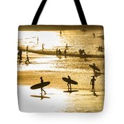 Silhouette Of Surfers At Sunset Tote Bag