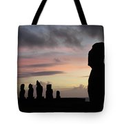 Silhouette Of The Moai Tote Bag