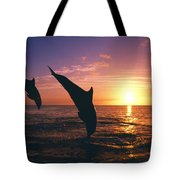 Silhouette Of Two Bottlenose Dolphins Tote Bag