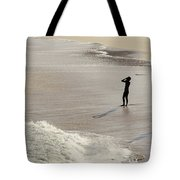 Silhouette On Beach Tote Bag