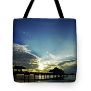 Silhouette Pier 60 Sunset Tote Bag