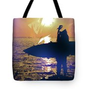 Silhouette Woman On Coast Holding Surfboard At Sunset Tote Bag