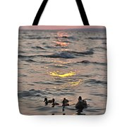 Silhouetted Ducks Tote Bag