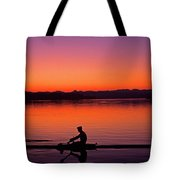 Silhouetted Man Rowing Tote Bag