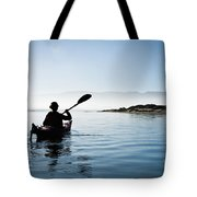 Silhouetted Morro Bay Kayaker Tote Bag by Bill Brennan - Printscapes