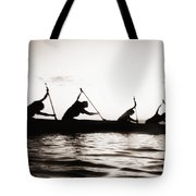 Silhouetted Paddlers Tote Bag