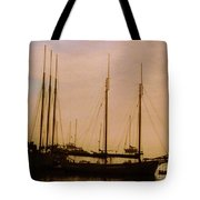 Silhouetted Sailboats Tote Bag