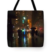 Silhouettes In The Rain - Umbrellas On 42nd Tote Bag