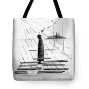 Silhouettes Of Human And Birds. Tote Bag