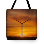 Silhouettes Of Wind Turbines With A Beautiful Sunset Tote Bag