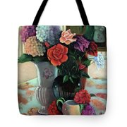 Silk Flowers Tote Bag