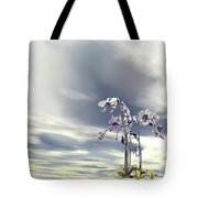 Silver And Gold Orchids Tote Bag