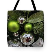 Silver And Green For Christmas Tote Bag