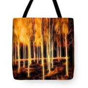 Silver Birches Flaming Abstract  Tote Bag
