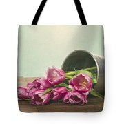 Silver Container With Fresh Tulips Tote Bag