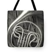 Silver French Horn Tote Bag