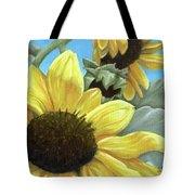 Silver Leaf Sunflower Growing To The Sun Tote Bag