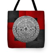 Silver Mayan-aztec Calendar On Black And Red Leather Tote Bag