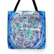 Silver On Blue Stained Glass Tote Bag