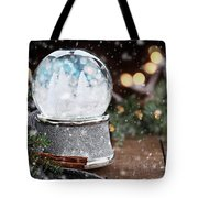 Silver Snow Globe With White Christmas Trees Tote Bag