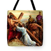 Simon Helping Jesus Tote Bag