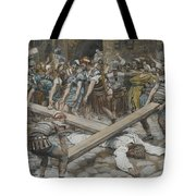 Simon The Cyrenian Compelled To Carry The Cross With Jesus Tote Bag