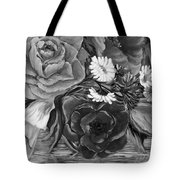 Simply Flowers 1 Black And White Tote Bag