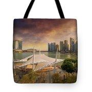 Singapore City Skyline By Marina Bay Sunset Tote Bag