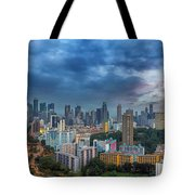 Singapore Cityscape At Sunset Tote Bag