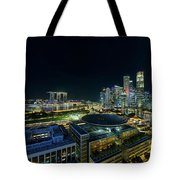 Singapore Modern Skyline By The River At Night Tote Bag