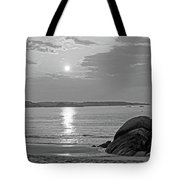 Singing Beach Rocky Sunrise Manchester By The Sea Ma Sand Black And White Tote Bag