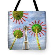 Singing Flowers Under The Space Needle Tote Bag