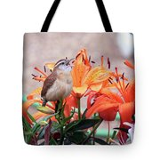 Singing Wren In The Lilies Tote Bag