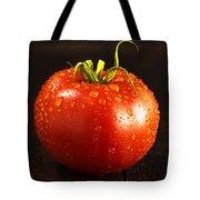 Single Fresh Tomato With Dew Drops Tote Bag