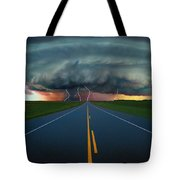 Single Lane Road Leading To Storm Cloud Tote Bag
