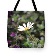 Single White Daisy On Purple Tote Bag